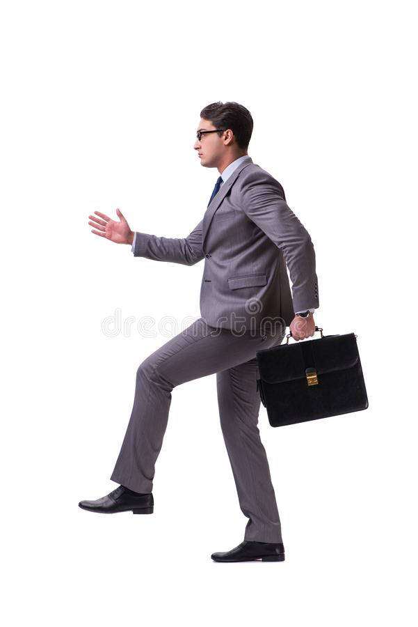 The puppet businessman isolated on white background. Puppet businessman isolated on white background stock photography