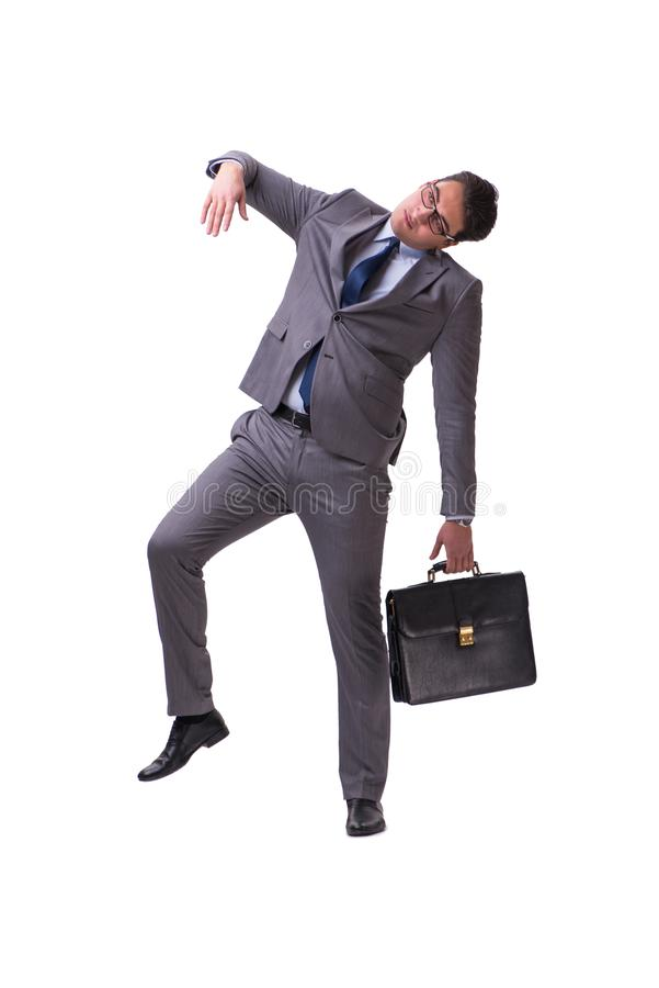 The puppet businessman isolated on white background. Puppet businessman isolated on white background royalty free stock photography