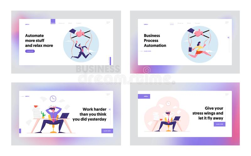 Puppet Businesspeople Manipulated with Huge Masters Hand and Deadline Stress Website Landing Page Set vector illustration