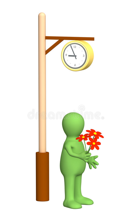 Puppet, Come With A Bouquet On Appointment Stock Photo