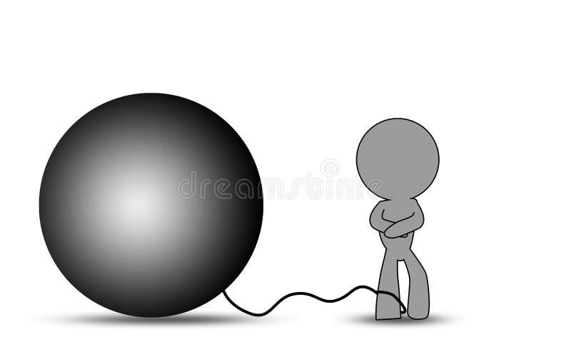 Puppet con una palla a catena sulla gamba royalty illustrazione gratis