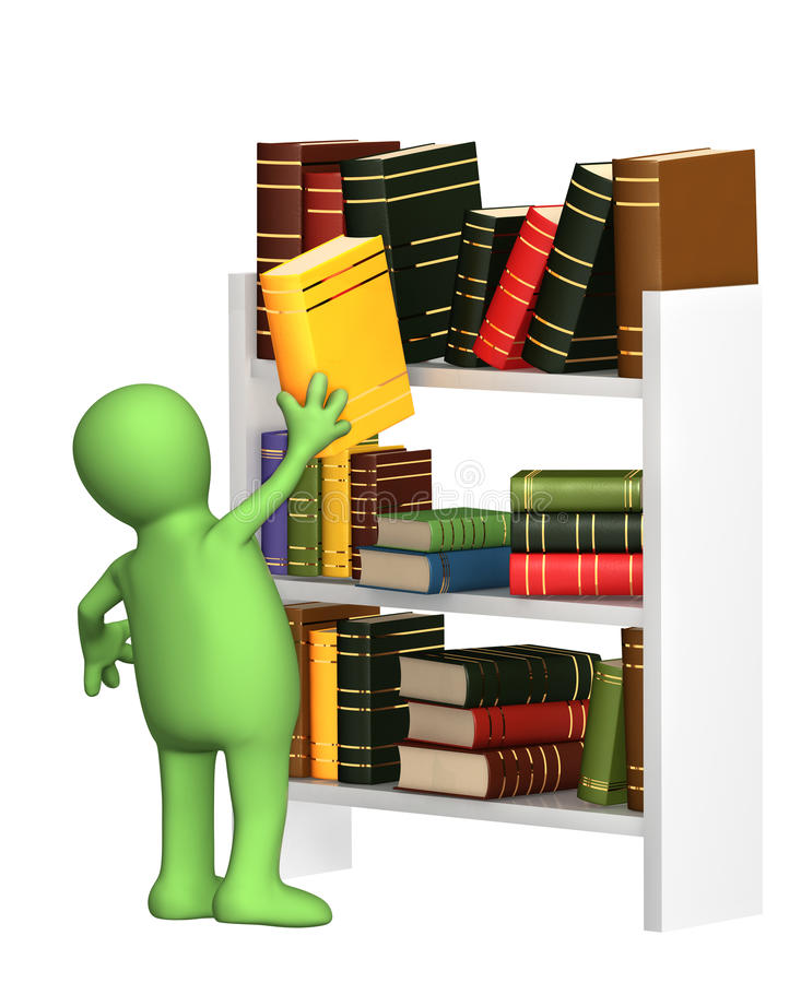 Puppet getting from a shelf the book vector illustration