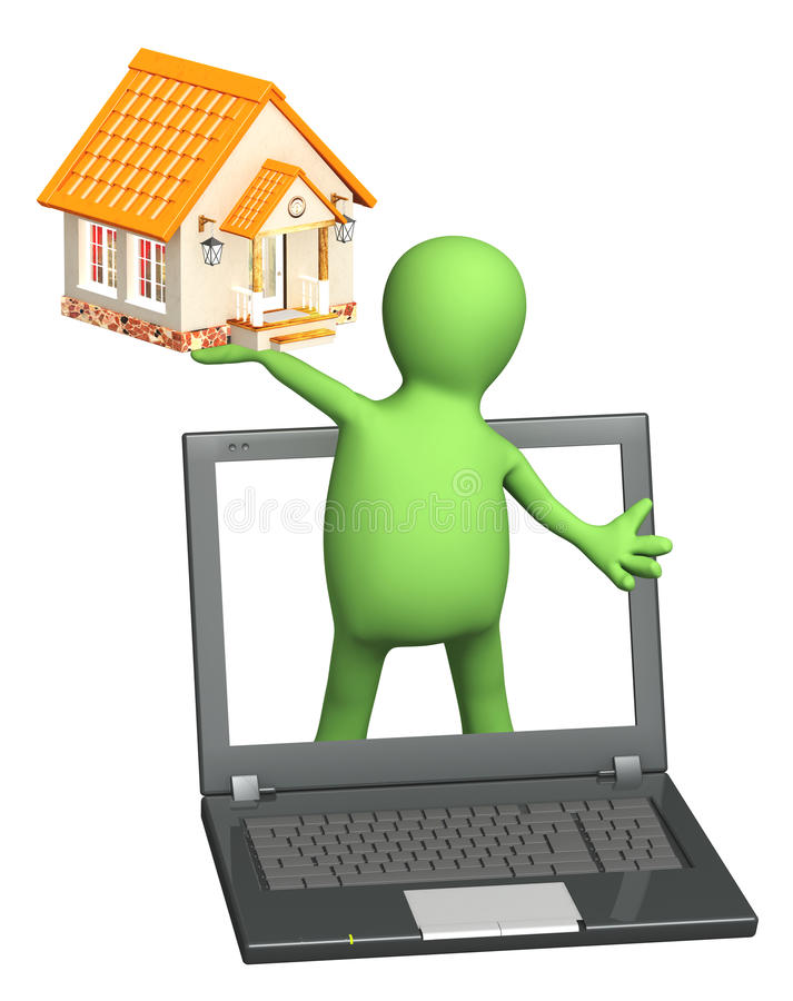 Download Puppet With Laptop And House Stock Illustration - Image: 24585359