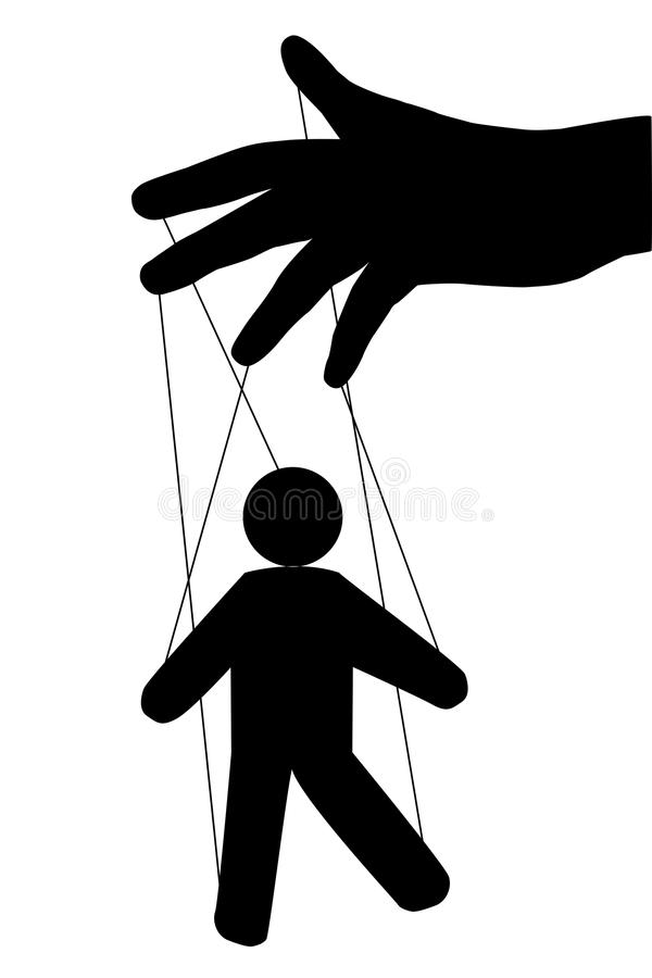 Puppet man. Vector isolated. Globalization. Hidden people management. New world order. hand puppet Management. stock illustration