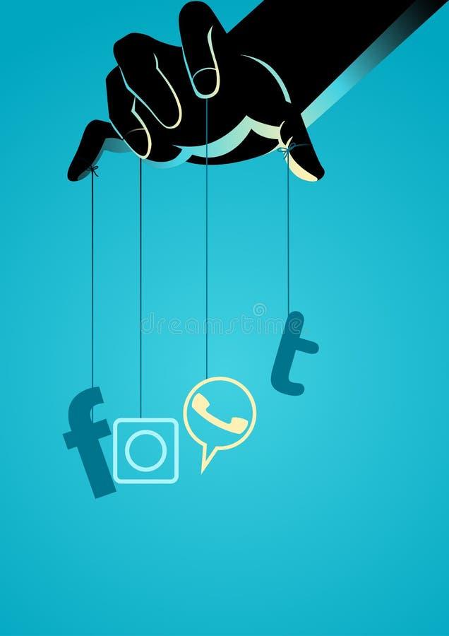 Puppet master controlling social media symbol royalty free stock image