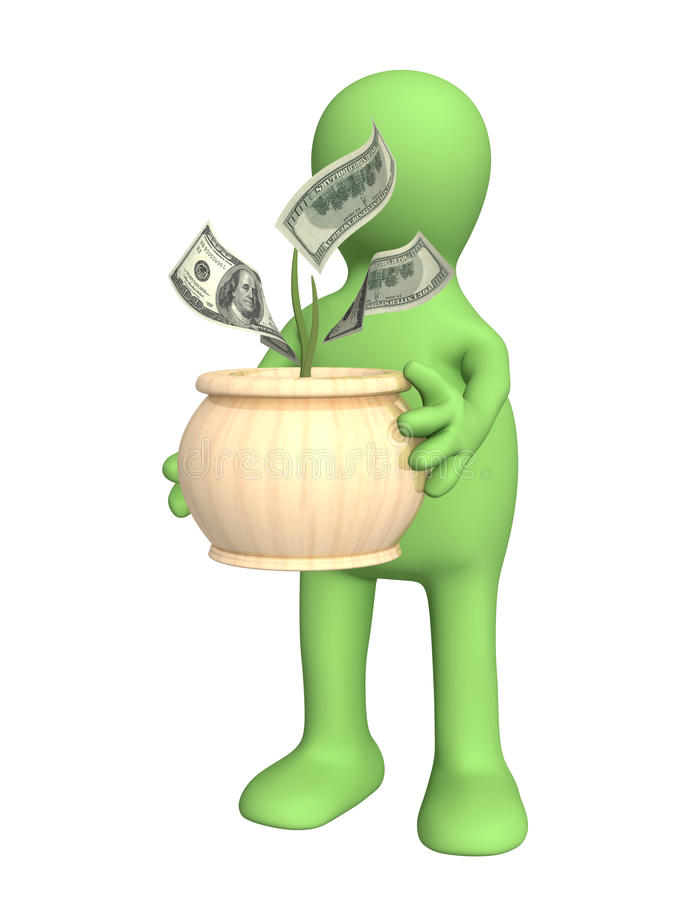 Puppet With Monetary Tree Stock Photography