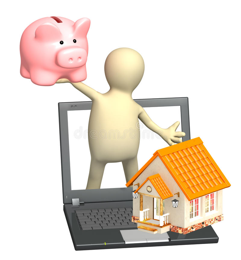 Download Puppet With Piggy Bank And House Stock Image - Image: 24585351