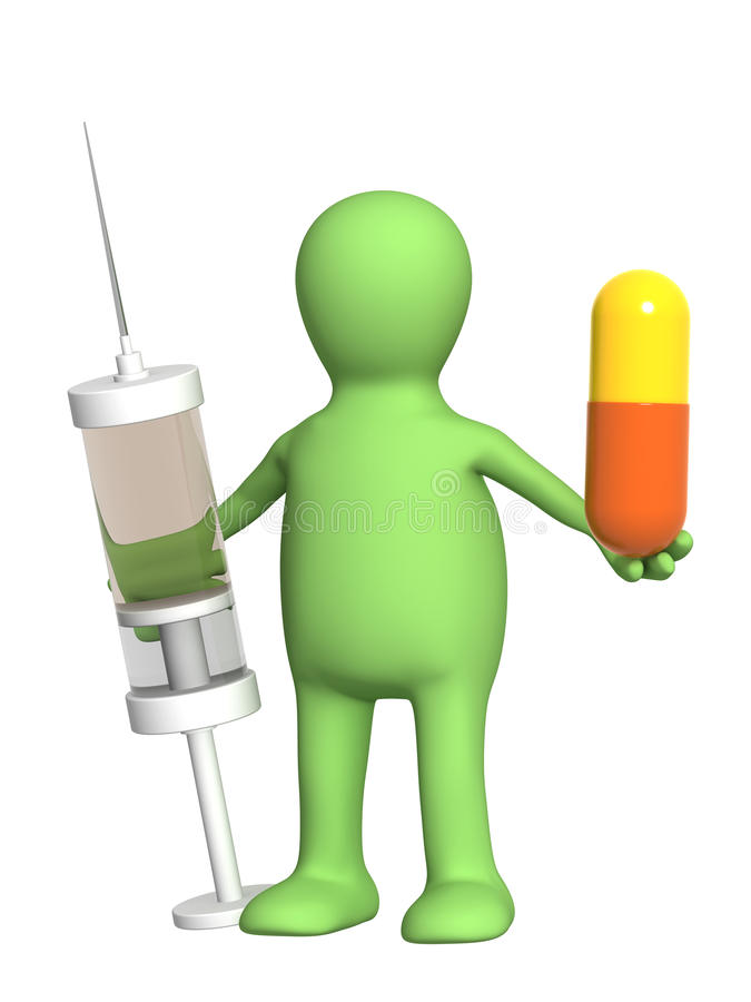 Puppet with pill and syringe vector illustration
