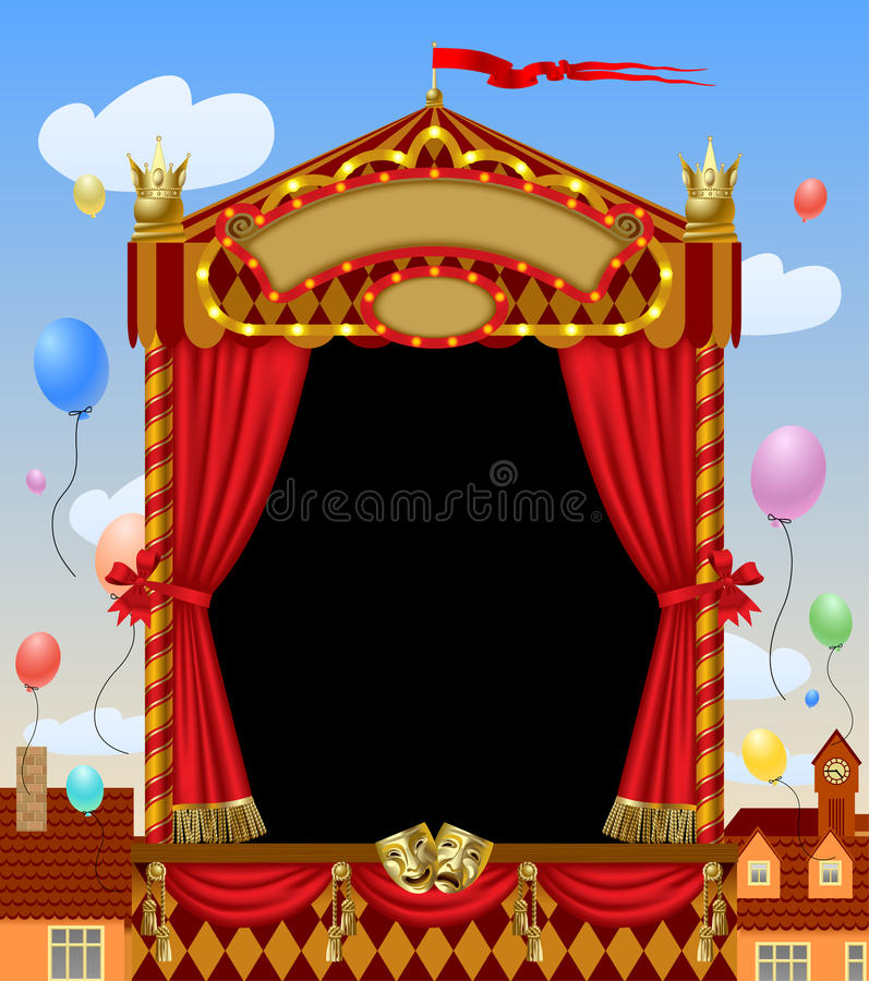 Puppet show booth with theater masks, red curtain, illuminated s. Ignboards width city view and colorful balloons in the sky. Artistic and theatrical poster and royalty free illustration