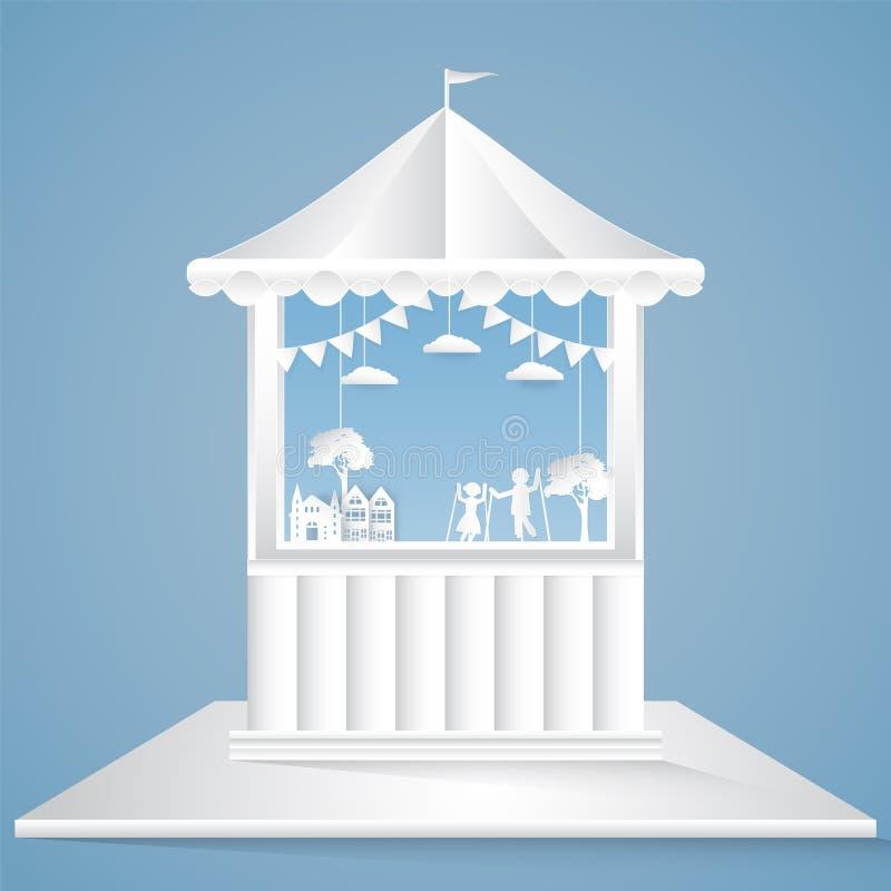 Puppet show park paper art style, paper cut background vector illustration