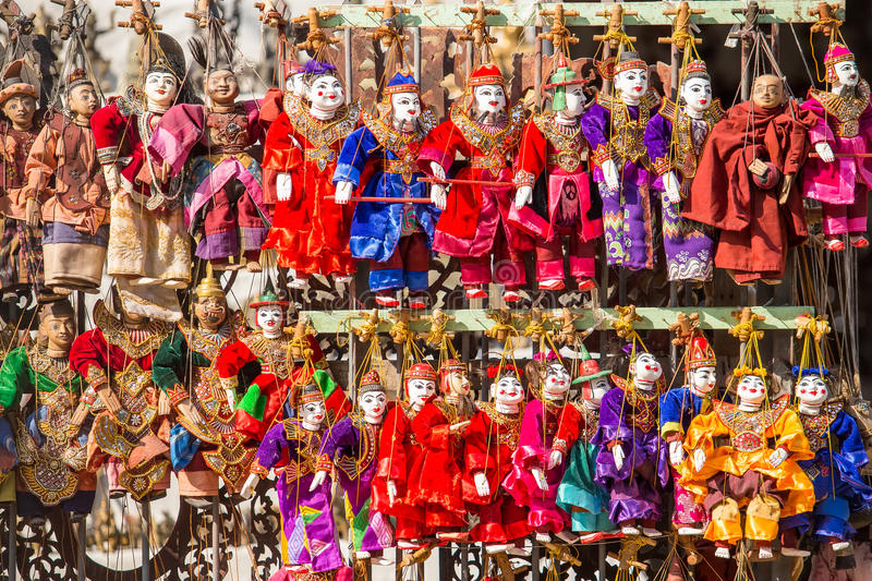 Puppet souvenir, Myanmar tradition dolls. royalty free stock images