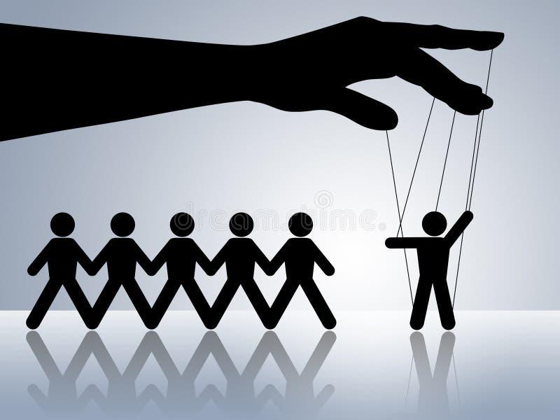 Puppet on string manipulation under control stock illustration