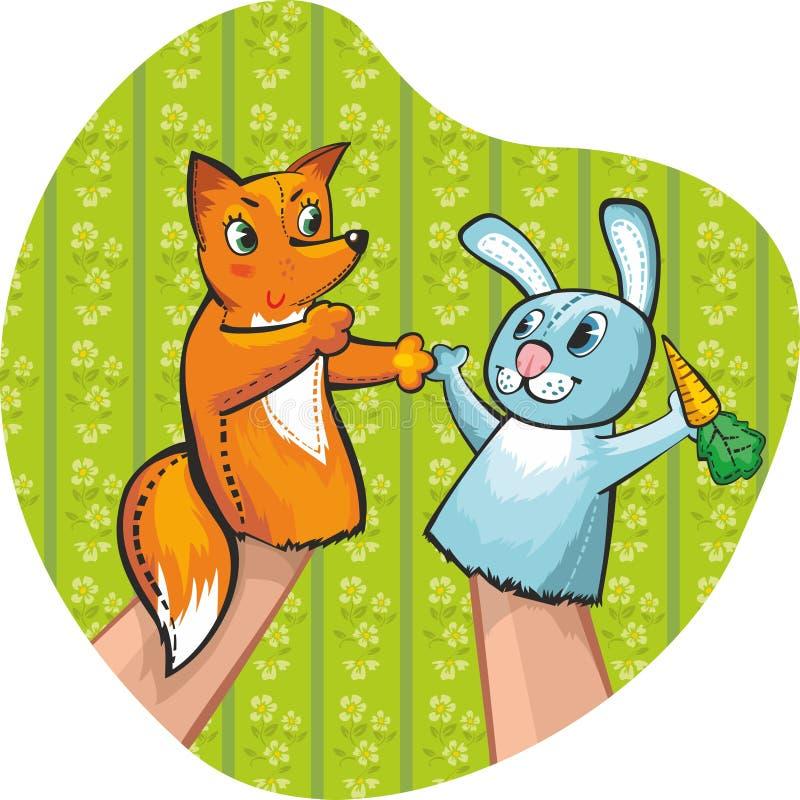 Puppet Theatre. Rabbit and fox stock illustration