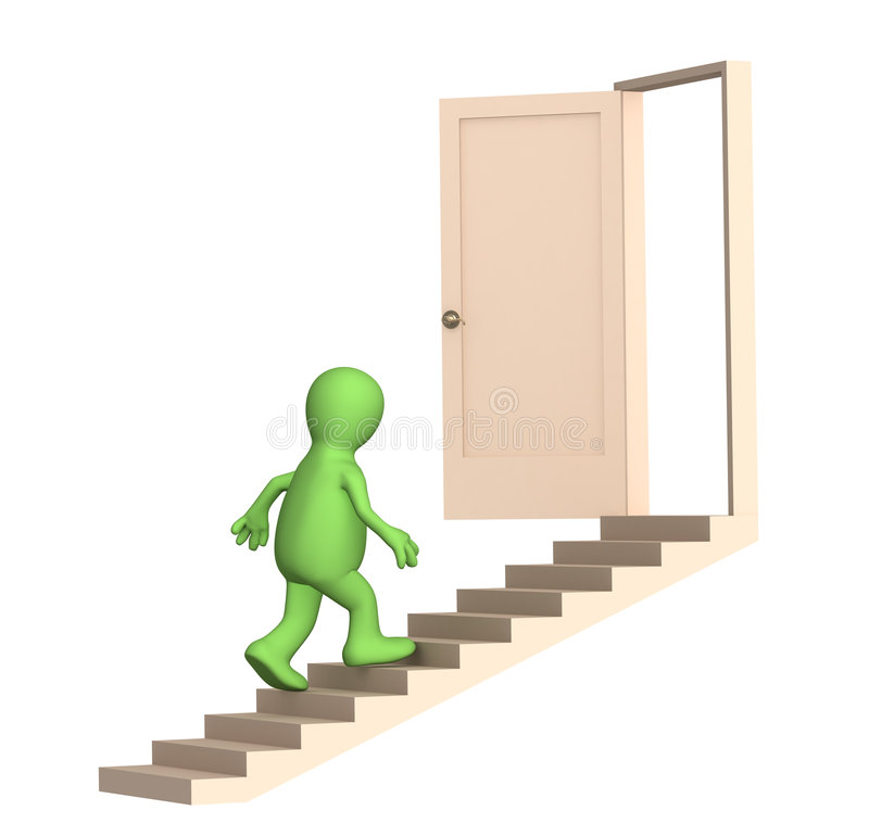 Puppet walking upstairs to an open door stock illustration