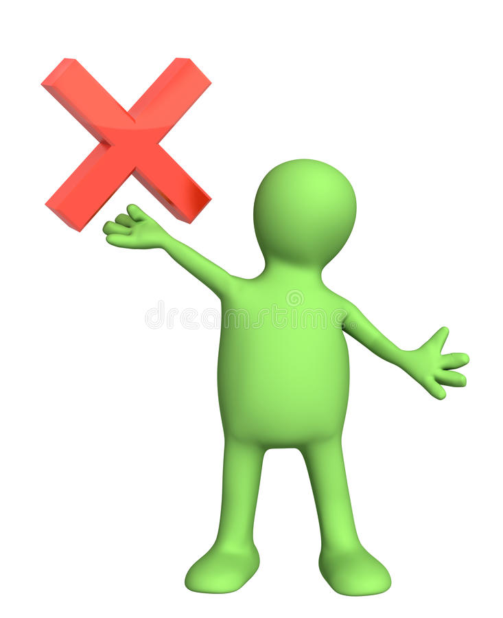 Download Puppet with warning symbol stock illustration. Image of confidence - 26535934