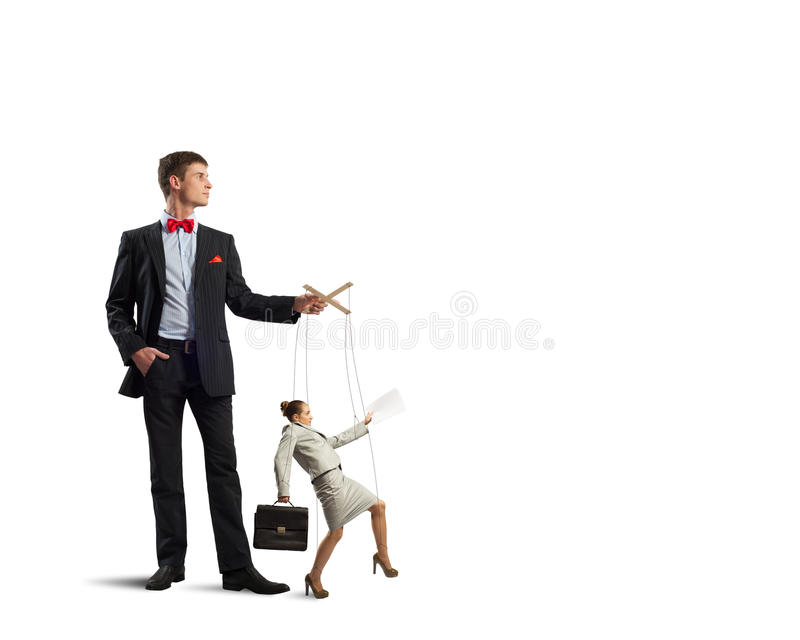 Puppeteer and business woman stock images