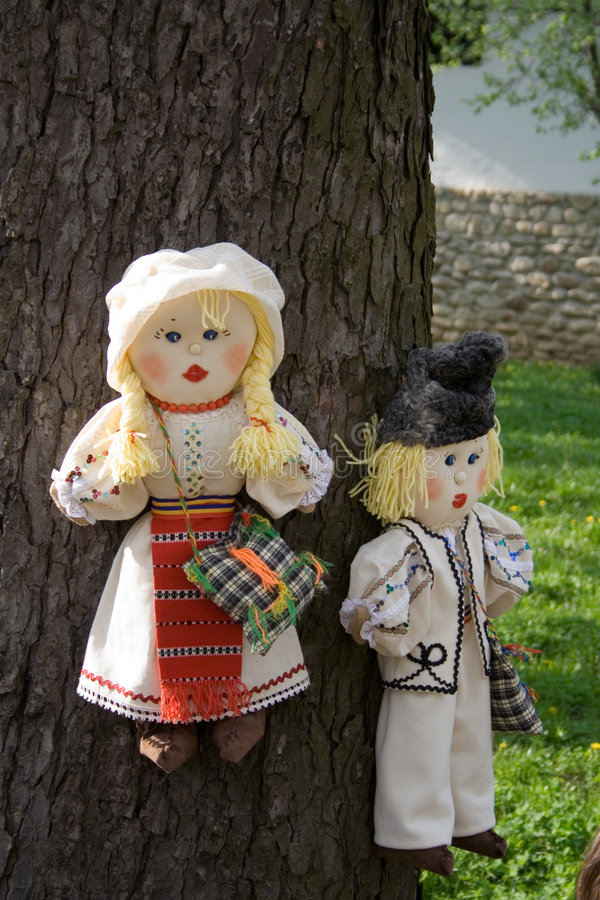 Puppets in Romanian traditional costume stock photography