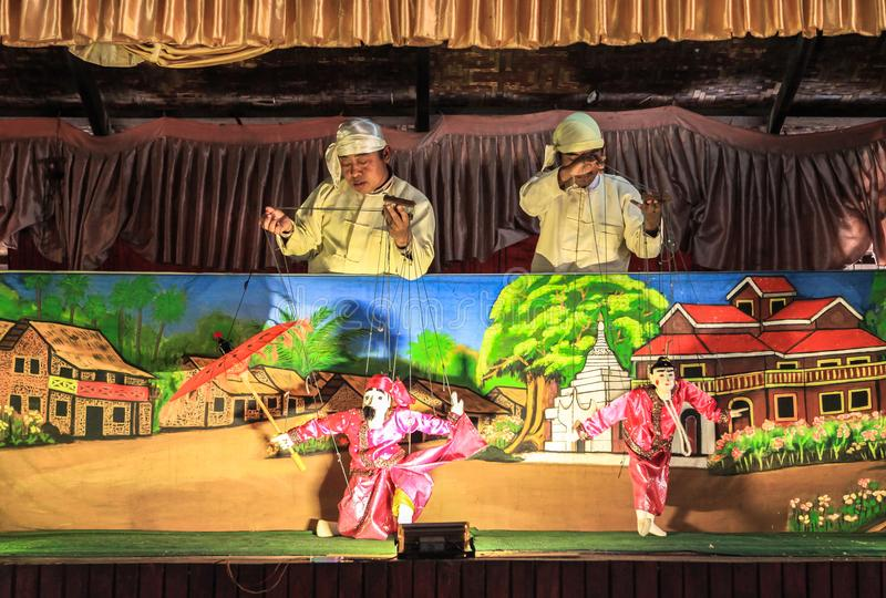 Puppets show in Bagan, Myanmar. This photo was taken Bagan, Myanmar. Some people believe that the traditional Burmese puppets has carried with them the culture royalty free stock photo