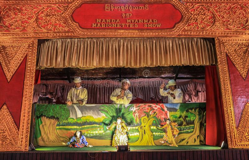 Puppets show in Bagan, Myanmar. This photo was taken Bagan, Myanmar. Some people believe that the traditional Burmese puppets has carried with them the culture royalty free stock photos