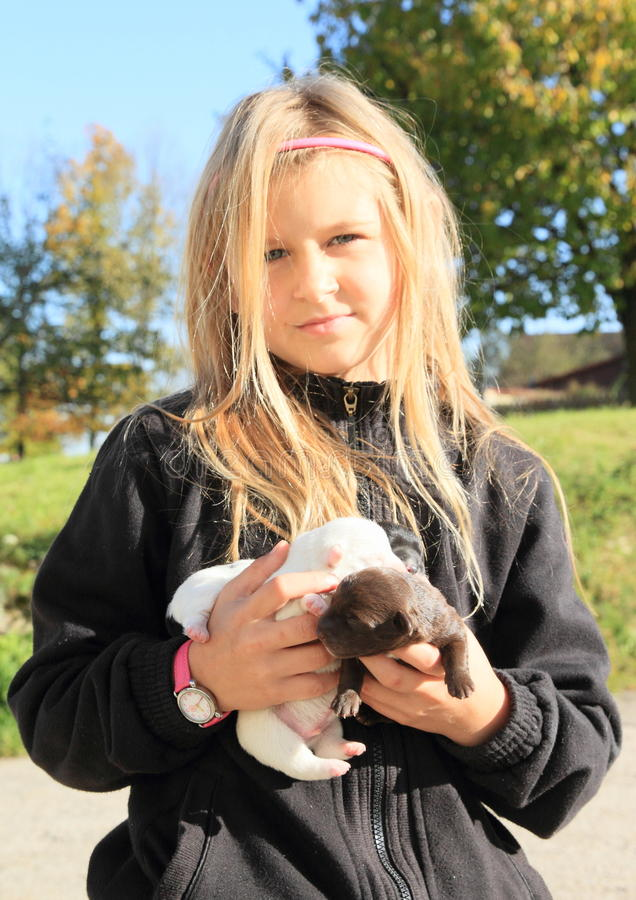 Puppies holded in kids hands. Three little puppies holded in hands of a smiling little blond girl - hairy kid dressed in black pull royalty free stock image