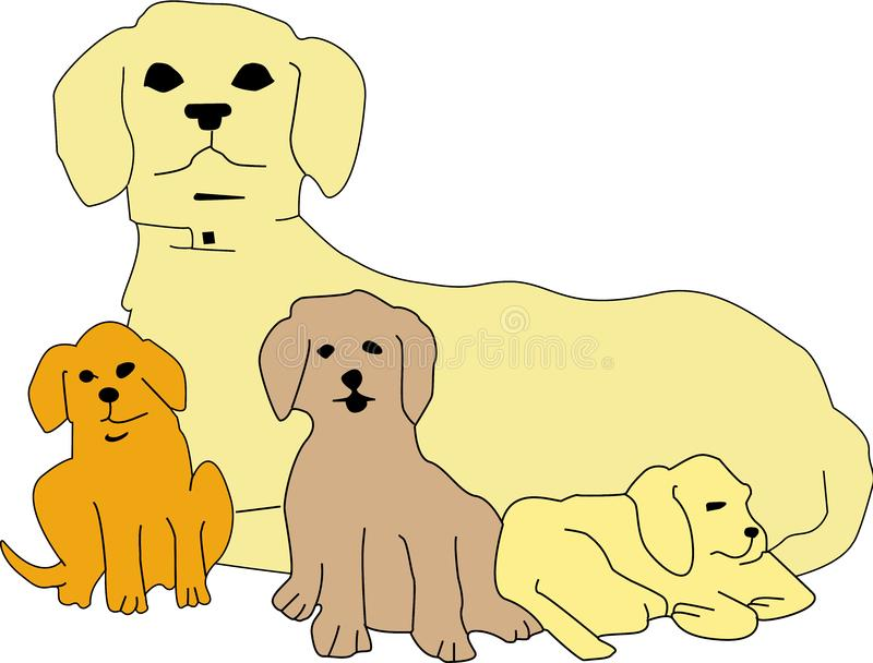 Download Puppies with mom stock vector. Illustration of puppies - 19188478