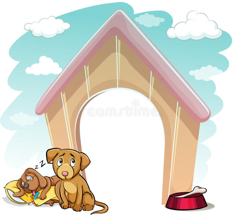 Puppies outside the doghouse. Puppies outside the wooden doghouse on a white background stock illustration