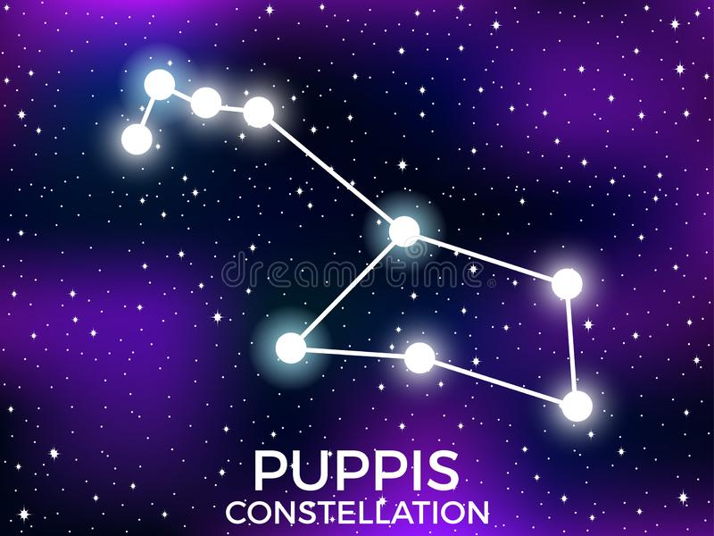 Puppis constellation. Starry night sky. Cluster of stars and galaxies. Deep space. Vector. Illustration royalty free illustration