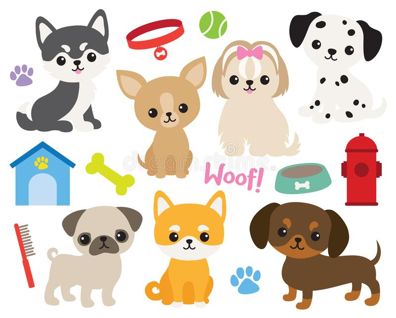 Cute puppy dog vector illustration. stock illustration