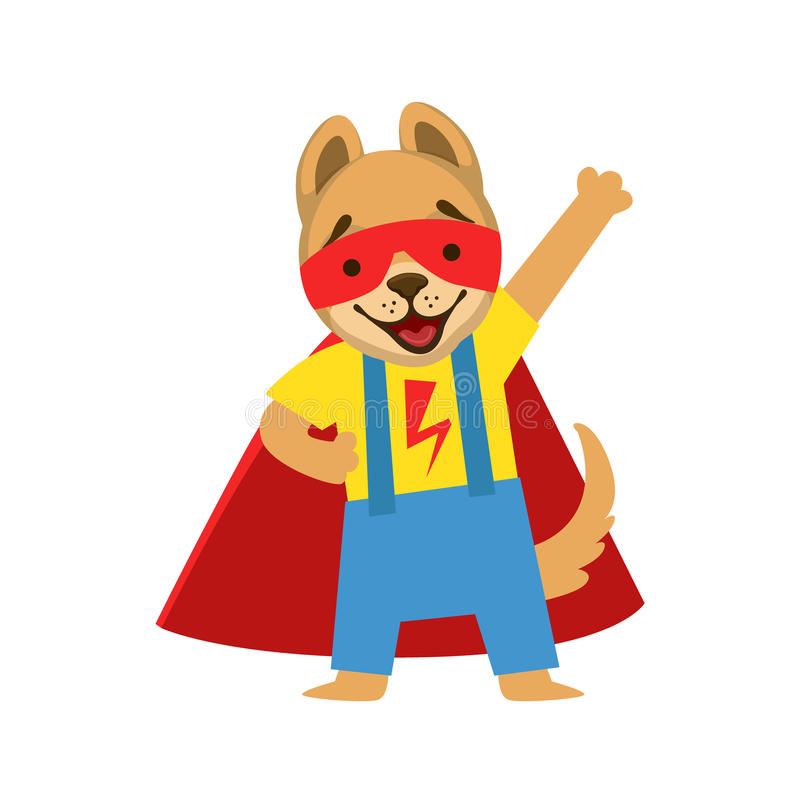 Puppy Animal Dressed As Superhero With A Cape Comic Masked Vigilante Character stock illustration