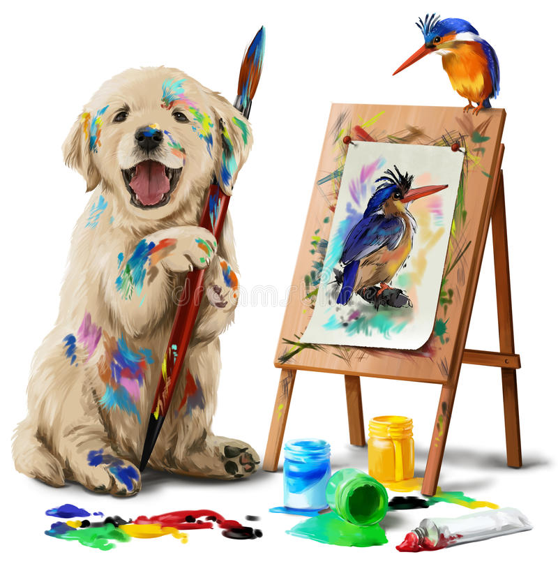 Puppy the artist draws the bird. Labrador puppy filled with paint paints Kingfisher