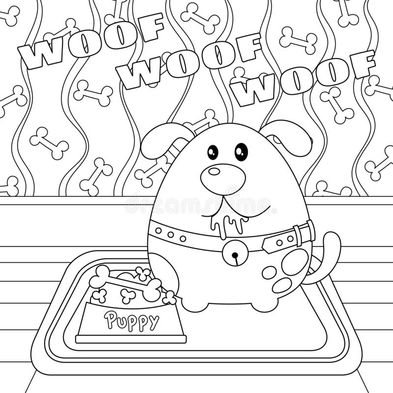 Puppy with a Bone in Food Bowl Colorless. Puppy dog with a bone in food bowl vector illustration. Cute puppy cartoon colorless. Meditation coloring page stock illustration