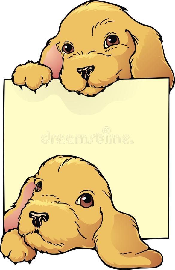 Puppy bookplate royalty-vrije illustratie
