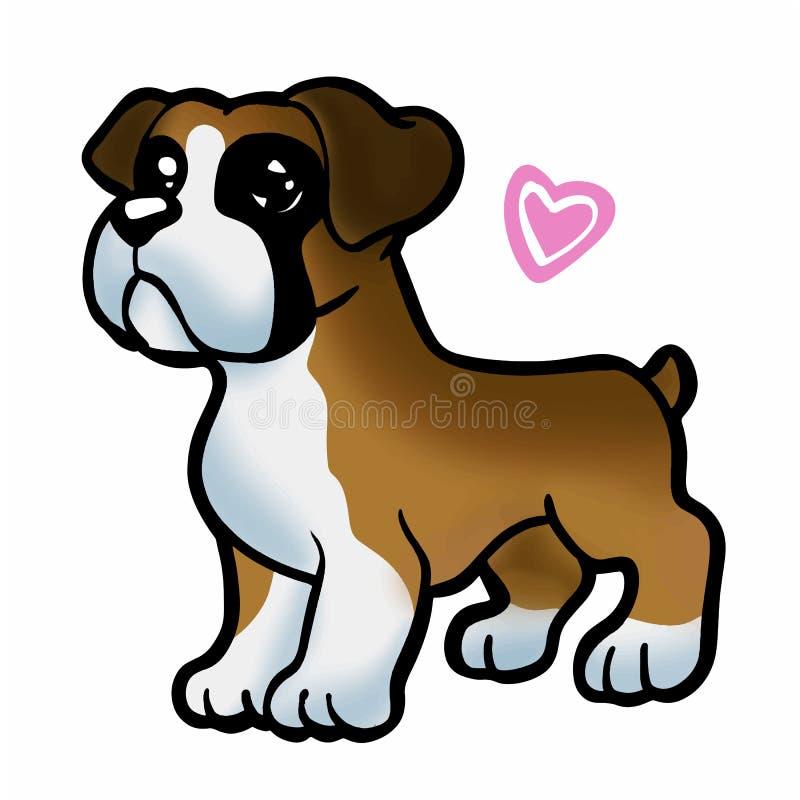 Puppy boxer heart cartoon vector illustration