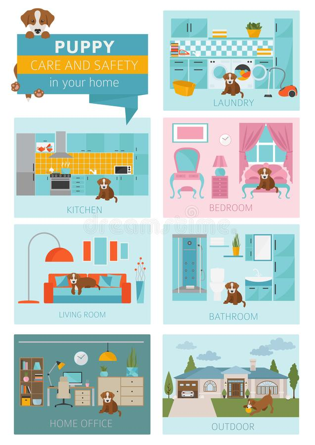 Puppy care and safety in your home. Pet dog training infographic design vector illustration