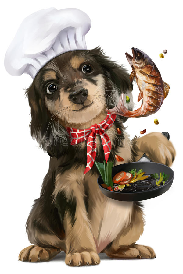 Puppy chef. Puppy fish fry watercolor painting stock illustration