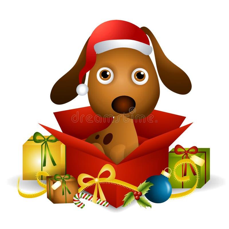 Puppy Christmas Present. An illustration featuring a cute puppy sitting in a Christmas present box royalty free illustration