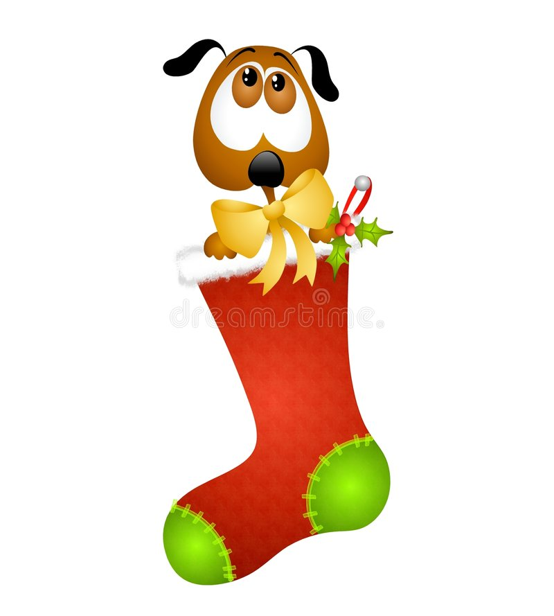 Puppy in a Christmas Stocking royalty free illustration