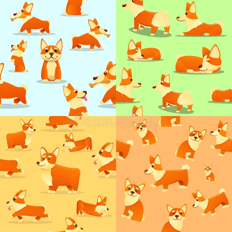 Puppy corgi dig pattern set, cartoon style. Puppy corgi dig pattern set. Cartoon illustration of puppy corgi dig vector pattern set for web design vector illustration