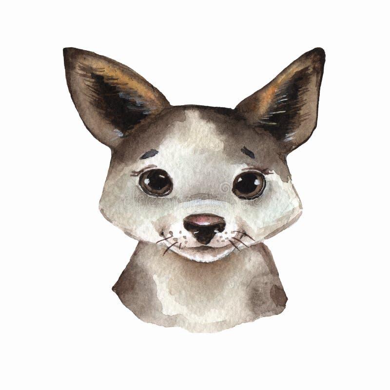 Puppy. Cute watercolor dog portrait stock illustration