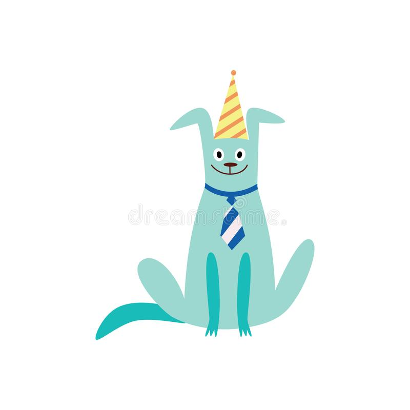 Puppy or dog in a birthday party hat and tie flat vector illustration isolated. vector illustration