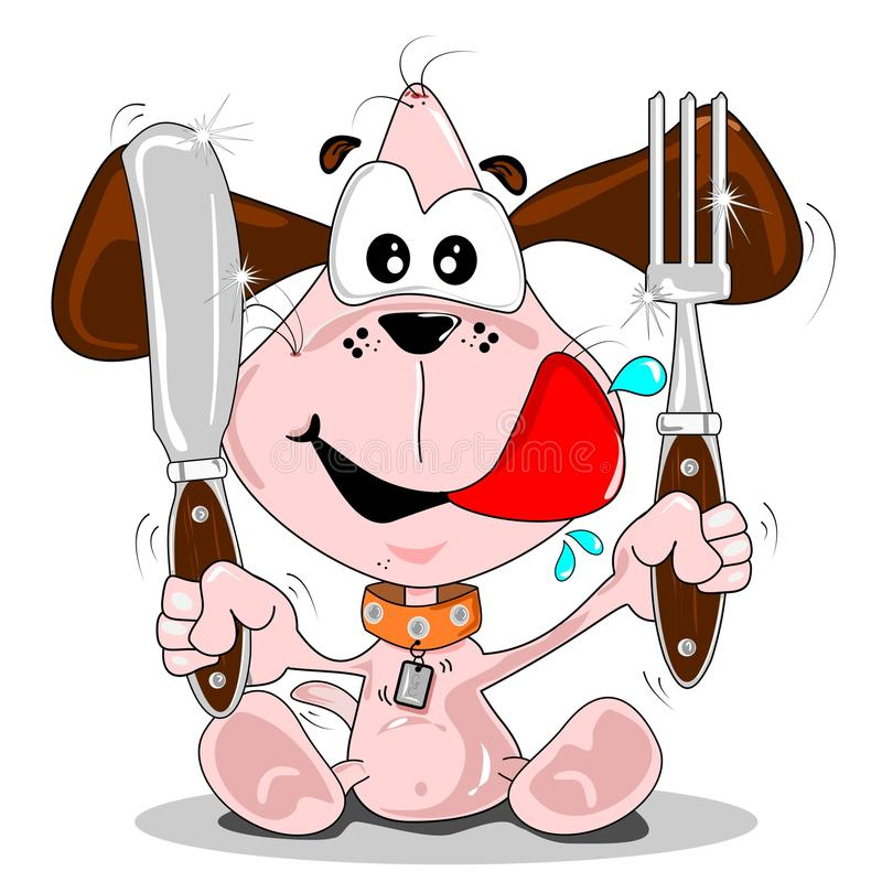Download Puppy dog meal time stock illustration. Illustration of happy - 21364261
