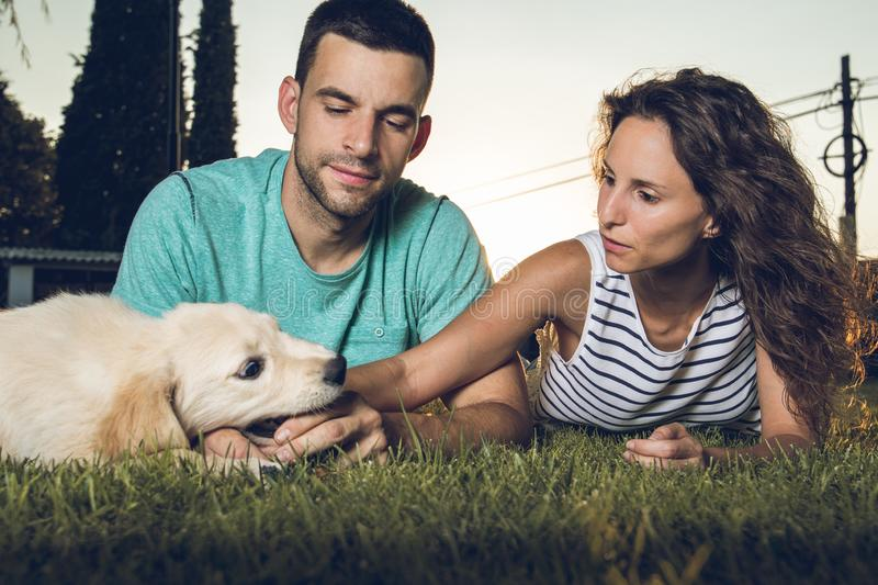 Puppy dog next to a couple of boyfriends. Concept of love between dogs and people royalty free stock image