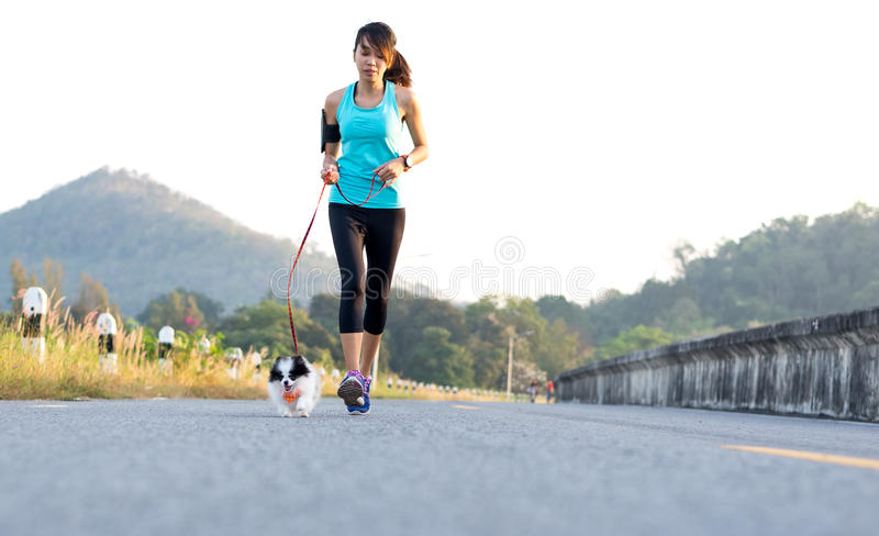 Puppy dog and young women running exercise on the street park royalty free stock photos