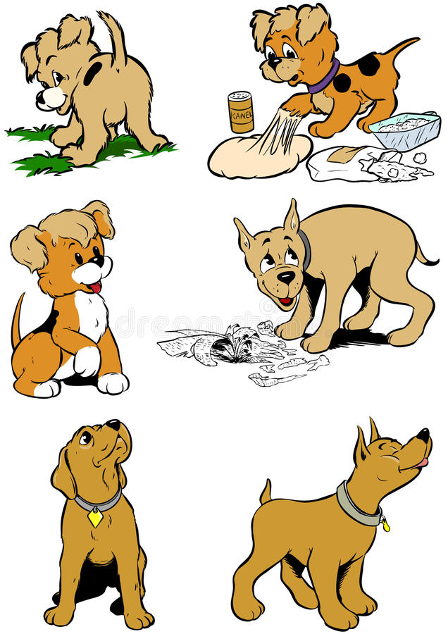 Cartoon cute dogs royalty free stock images