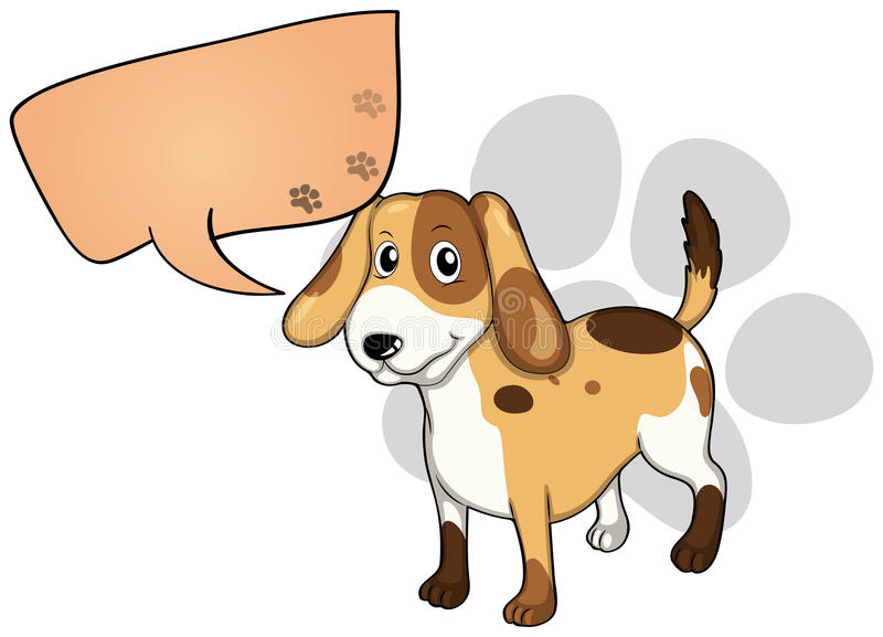 A puppy with an empty rectangular callout vector illustration
