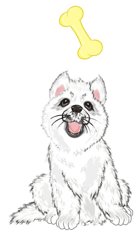 Puppy en voedsel stock illustratie