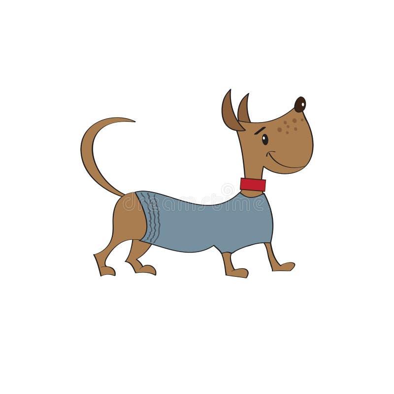 Puppy gekleed in buitensporig jasje stock illustratie