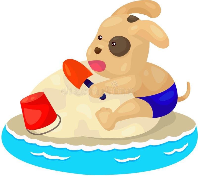 puppy hond het spelen zandstrand royalty-vrije illustratie