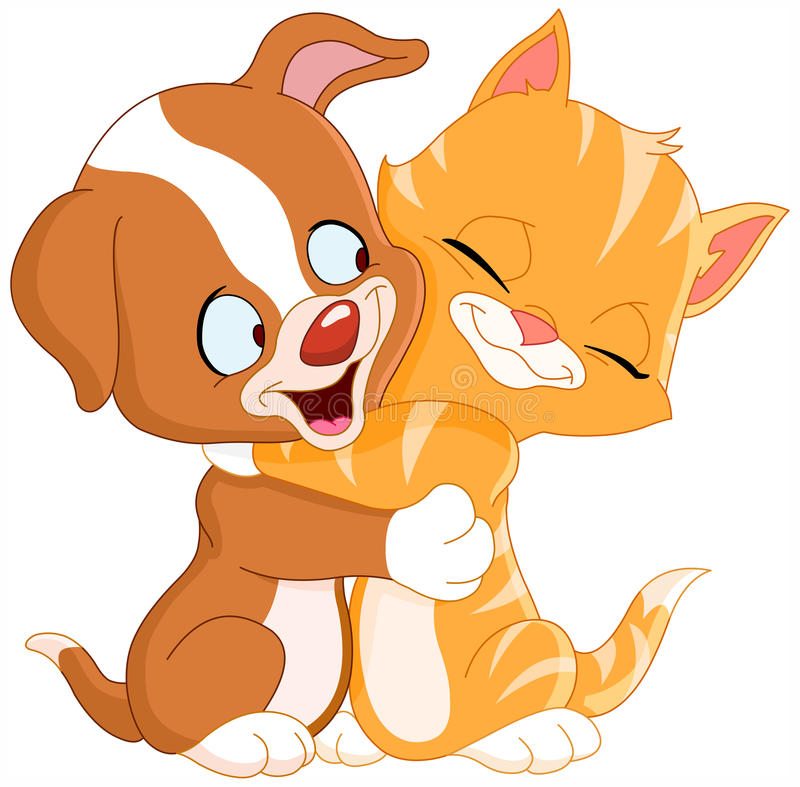 Puppy and kitten. Cute puppy and kitten hugging each other royalty free illustration
