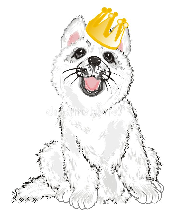 Puppy in kroon stock illustratie